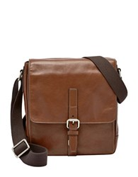 Fossil Davis Leather City Courier Crossbody Bag Cognac