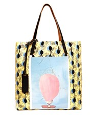 Marni Pocket Print Pvc Tote Yellow Multi