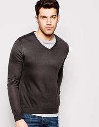 United Colors Of Benetton Knitted V Neck Jumper Charcoal19e