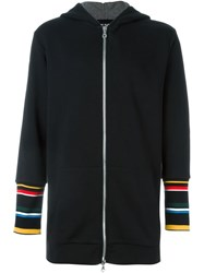 Ejxiii Striped Cuff Zipped Hoodie Black