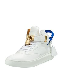 Buscemi Men's 100Mm Leather Mid Top Sneaker White Neon Blue