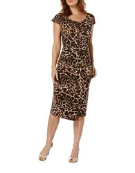 Rafaella Petite Ruched Wrap Dress Deep Sepia