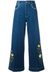 Stella Mccartney Floral Patch Flared Jeans Blue