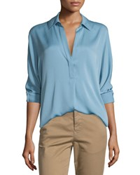 Vince Long Sleeve Split Neck Silk Blouse Sky Blue
