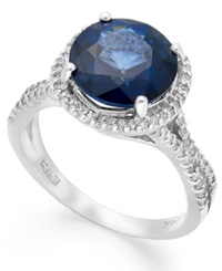 Effy Collection Velvet Bleu By Effy Manufactured Diffused Sapphire 4 Ct. T.W. And Diamond 3 8 Ct. T.W. Round Ring In 14K White Gold