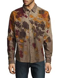 Prps Economy Printed Casual Button Down Shirt Olive