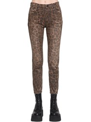 R 13 Leopard Printed High Rise Skinny Jeans Multicolor