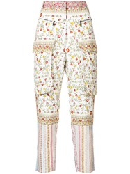 N 21 No21 Floral Cargo Trousers Women Silk 38 White