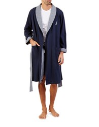 Nautica Double Knit Lounge Robe Navy