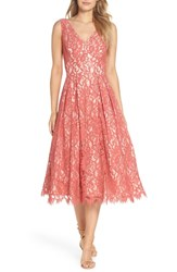 Eliza J V Neck Lace Midi Dress Rose