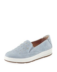 Adrienne Vittadini Goldie Studded Suede Sneaker Blue