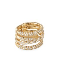 David Yurman 18K Gold Pave Flex Four Row Diamond Ring