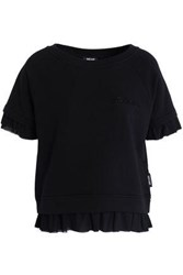 Just Cavalli Ruffled Chiffon Trimmed Cotton Blend Pajama Top Black