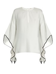 Adam By Adam Lippes Flared Sleeve Crepe Top White