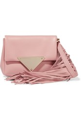 Sara Battaglia Teresa Fringed Leather Clutch Pink