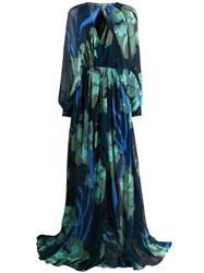 Just Cavalli Floral Print Gown With Removable Sleeve Bolero Blue