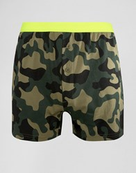 Asos Jersey Boxers With Camo Print And Neon Waistband Green