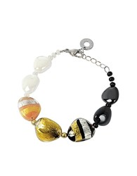 Antica Murrina Veneziana Moretta Pastel Glass Beads W 24Kt Gold And Silver Leaf Bracelet