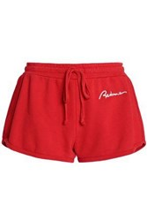 Re Done Embroidered French Cotton Terry Shorts Red