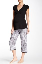 Majamas Lacey Cropped Maternity Nursing Pajama Set Multi