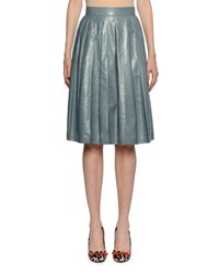 Bottega Veneta Flared Pleated Knee Length Leather Skirt Blue