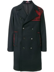 Tommy Hilfiger Oversized Block Tartan Coat Blue