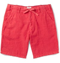 Hartford Slim Fit Drawstring Linen Shorts Red