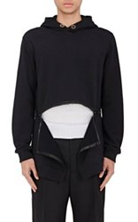 Givenchy Men's Zip Bottom Fleece Hoodie Black