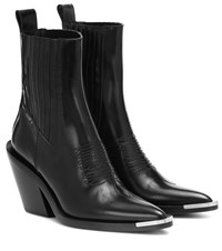 Paco Rabanne Leather Ankle Boots Black
