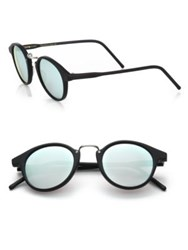 Kyme Frank 46Mm Round Pantos Mirror Sunglasses Black Silver