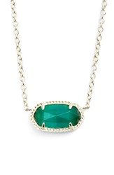 Kendra Scott Women's Elisa Birthstone Pendant Necklace May Emerald Cats Eye