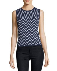 Pink Tartan Stretch Knit Chevron Top Blue White