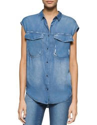 Calvin Klein Jeans Buttoned Denim Cap Sleeve Top Destructed