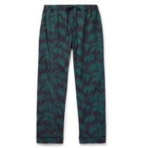 Desmond And Dempsey Byron Printed Cotton Pyjama Trousers Green