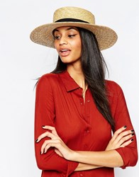 French Connection Straw Boater Hat Natural Beige