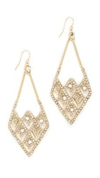 Alexis Bittar Crystal Encrusted Spiked Lattice Earrings Gold