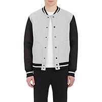 Barneys New York Men's Bonded Jersey Bomber Jacket Grey