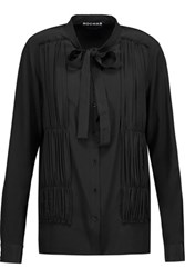 Rochas Ruched Silk Crepe Shirt Black