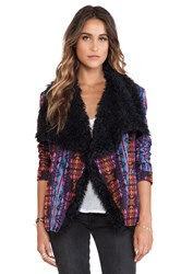 Minkpink Mystic License Jacket With Faux Fur Purple