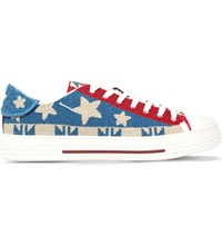 Valentino Garavani Star Embellished Beaded Leather Trainers Mult Other