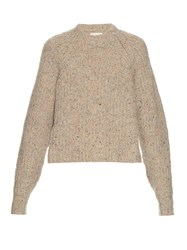 Etoile Isabel Marant Happy Ribbed Knit Sweater Beige Multi