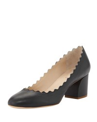 Chloe Scalloped Leather Pump Black