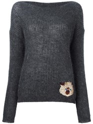 Roberto Collina Embroidered Cat Jumper Grey