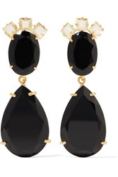 Bounkit Gold Tone Quartz And Onyx Earrings Black