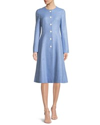 Lela Rose Seamed Flared Button Front Woven Top Coat Medium Blue
