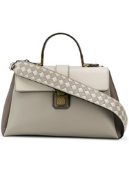 Bottega Veneta Diamond Woven Strap Tote Grey