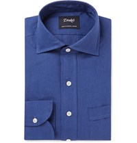 Drakes Drake's Slim Fit Linen Shirt Blue