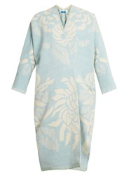Marit Ilison Reversible Floral Jacquard Cotton Chenille Coat Blue White