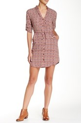 Angie Patterned Shirt Dress Red