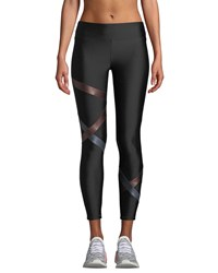 Lanston Kai Band Performance Leggings Black Metallic